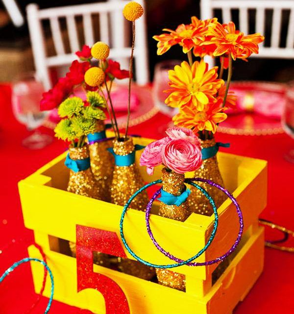 Bright And Glittery Circus Themed Centerpiece