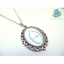 Ichthus ( Jesus fish ), glass dome pendant. www.kezmuvesshop.com