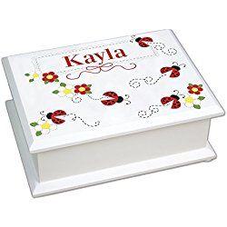 Personalized Red Ladybug Lift Top Jewelry Box