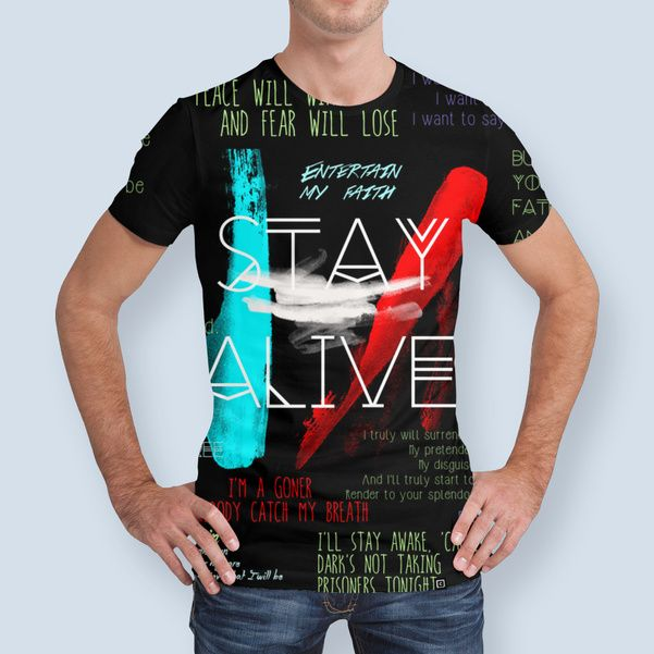 Discover «Twenty One Pilots Stay Alive Song Lyrics Quotes», Limited Edition Men's All Over T-Shirt by Retno Mustakimah - From $49 - Curioos