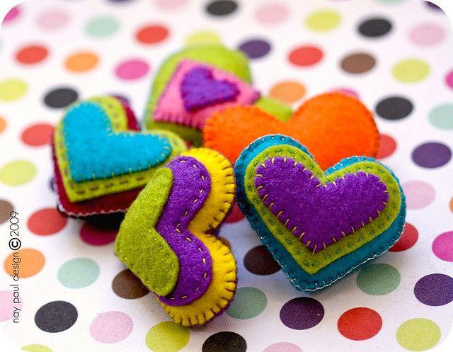 felt puffy hearts