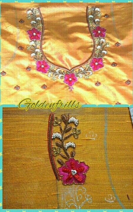 Antique style of work wid threadwrk flowers...watsapp number 9515951399...@Goldenfrills