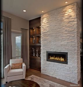 Résultats de recherche d'images pour «salon avec foyer électrique mur blanc et pierre grise»