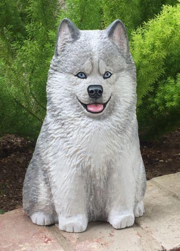 WOOD-Carved-Siberian-Husky-Dog-Lisa-Rogers-Original-Carving-Sculpture