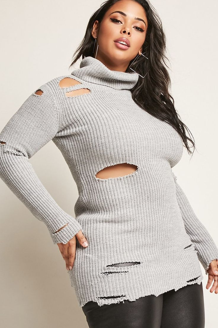 Plus Size Distressed Sweater Dress