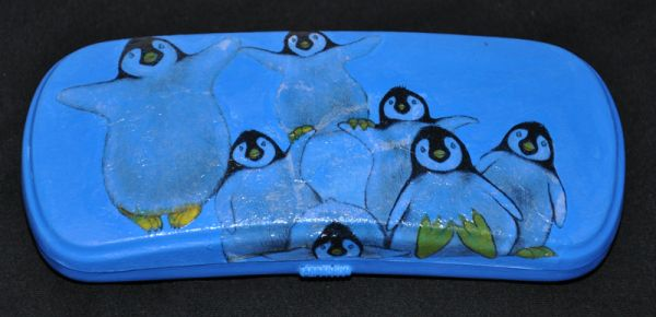 decoupage decorated glasses pouch, reused pouch, penguins decoupage