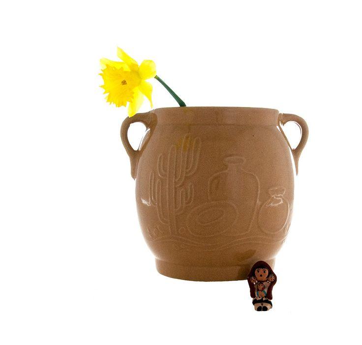 Stoneware Pottery, USA, Southwestern Decor, Kitchen Decor, Cactus Design, Vintage Crock, Garden Planter, Vintage Pot, Flower Vase by PlumsandHoney on Etsy