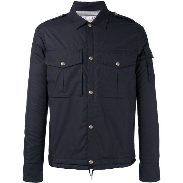 Moncler Gamme Bleu Snap Button Jacket ($1,350) ❤ liked on Polyvore featuring men's fashion, men's clothing, men's outerwear, men's jackets, mens navy jacket, mens cotton jacket and mens navy blue jacket