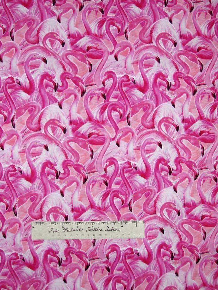 "Animal Fabric - Michael Searle Flamingo Nautical Scene - Timeless Treasures 22"" #TimelessTreasuresFabric"