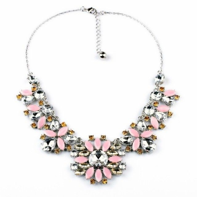 Statement Pendant Necklace With Pink Artificial Gemstones $19.98