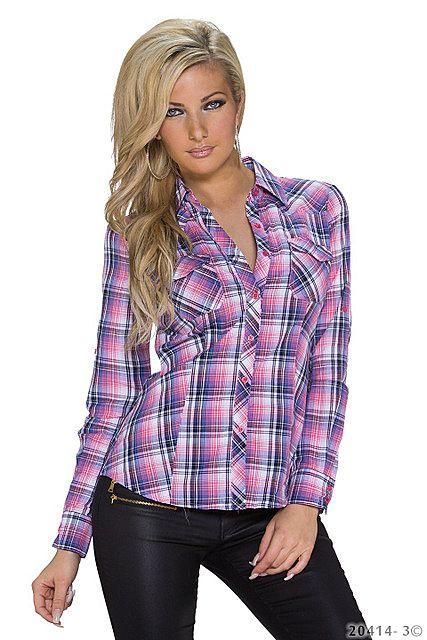 Camisa manga larga a cuadros mujer cuello pico blusa slim fit ajustada con botones, Rosa Claro|Púrpura Morado
