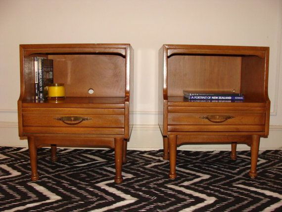 Best Mid Century Pair Of 2 Tiered Nightstands With Drawer By 400 x 300