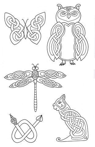 Dessins celtiques d'animaux 2 Coloriage