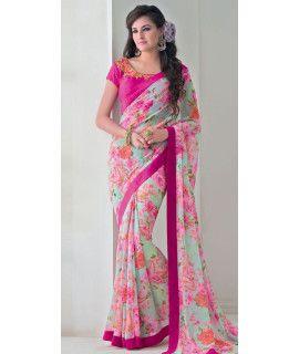 Brilliant Pink Silk Designer Saree With Blouse.