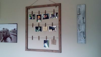 I would use an old picture frame instead of constructing it with wood, and use copper wire or baling wire instead of jute string.