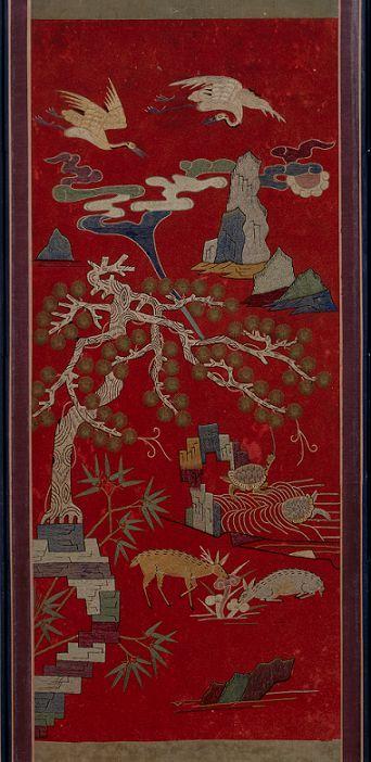 高麗美術館/刺繍十長生図屏風(部分、19世紀)