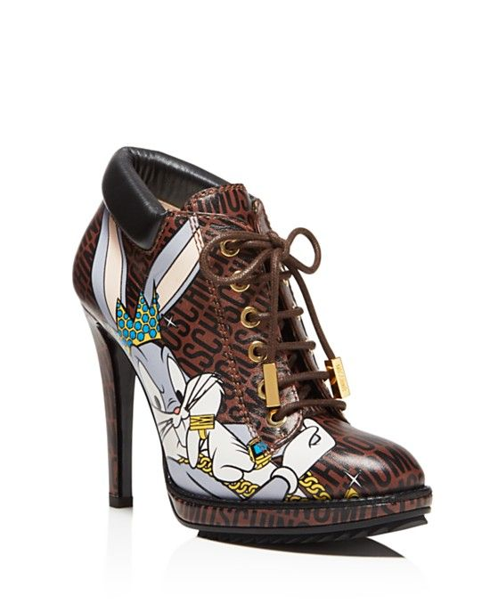 9704cb5299e Moschino Looney Lace Up High Heel Booties