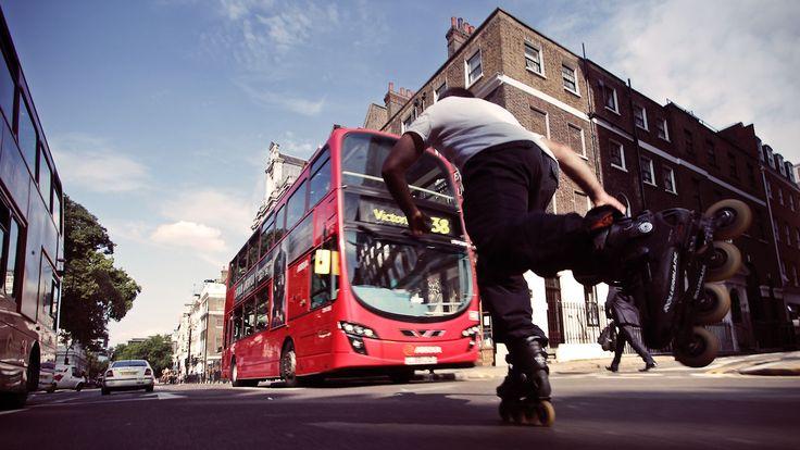 Ben Brillante blasting through London in 2011 on the Rollerblade Twister 80