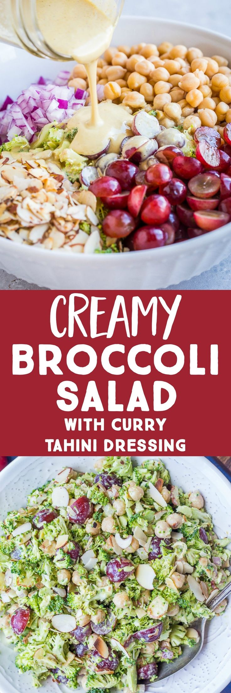 This Creamy Broccoli Salad with Curry Tahini Dressing is so flavorful and delici…