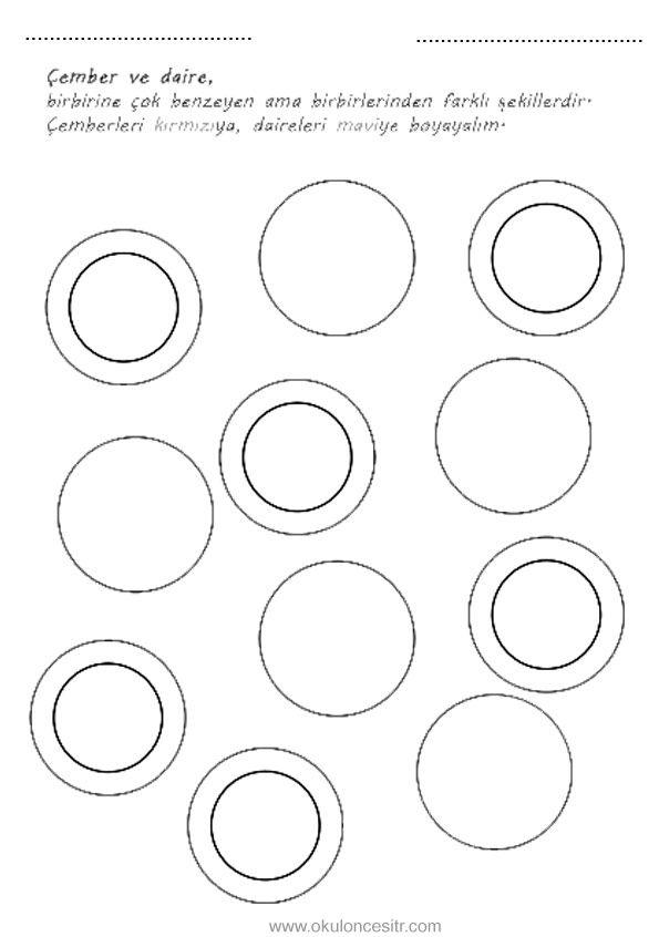 Daire Kavrami Calisma Sayfasi Okuloncesitr Preschool Geometri Daire Boyama Sekil