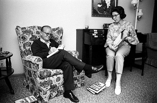 "LUSCIOUS LITERATURE: Learn about Harper Lee's new novel ""Go Set a Watchman"" - here's Harper with friend and colleague Truman Capote after the release of his book, ""In Cold Blood"""