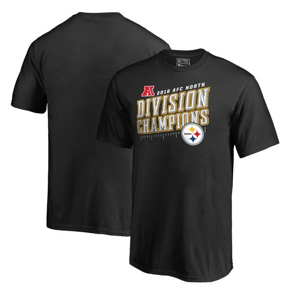 Pittsburgh Steelers Pro Line by Fanatics Branded Youth 2016 AFC North Division Champions Inches T-Shirt - Black - $16.99