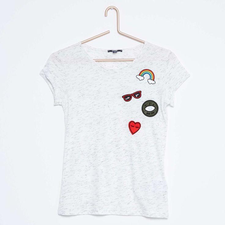 Tee-shirt patchs poitrine Fille adolescente - Kiabi - 8,00€