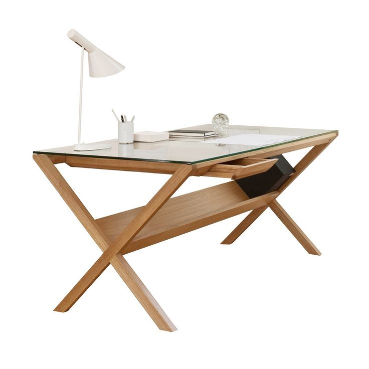 Designed In Japan By Shin Azumi, This Contemporary Desk Is Built Around A  Crisscross Frame That Is Carved From Solid Oak And Finished In A Light  Lacquer.