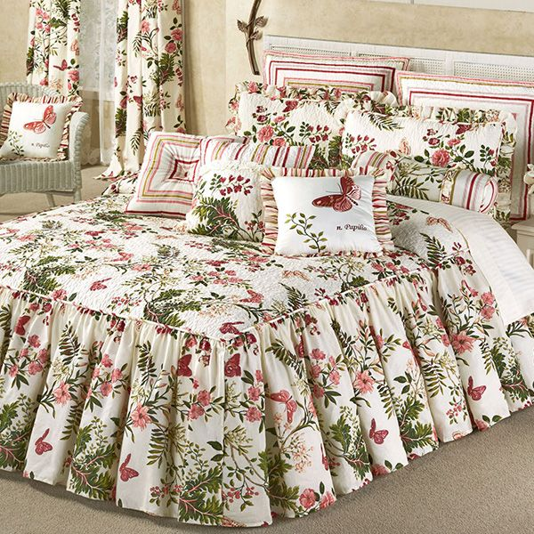 Butterfly Garden Floral Ruffled Flounce Bedspread Bedding Floral Bedroom Decor Designer Bed Sheets Bed Spreads