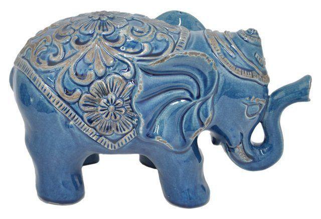 """13"""" Ceramic Elephant Figurine, Blue"""