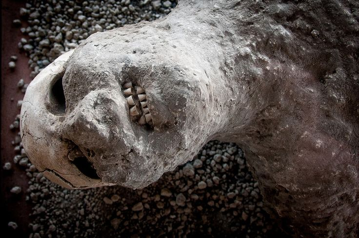 Cast of a Buried Person in the Ruins of Pompeii, Italy