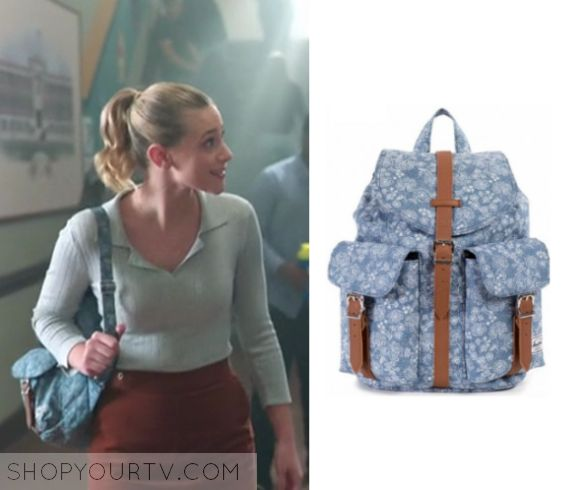 "Riverdale: Season 1 Episode 10 Betty's Floral Backpack | by Kirsty0 Comments  Betty Cooper (Lili Reinhart) wears this blue chambray floral backpack in this episode of Riverdale, ""The Lost Weekend"".  It is the Herschel Supply Co Dawson Backpack."