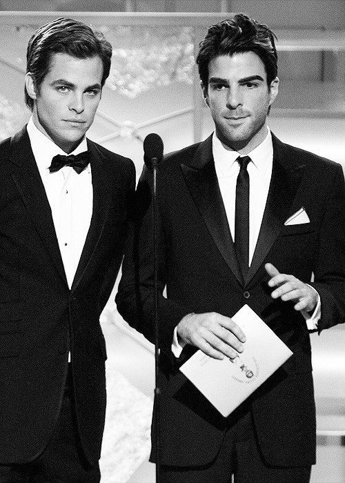 chris pine and zachary quinto No offense to Zachary, but all I care about is the amazing ness on the left.