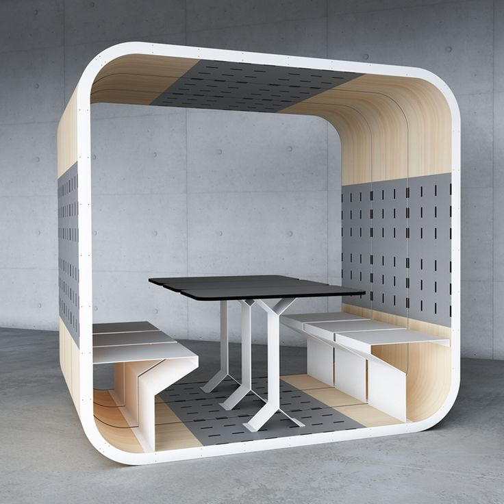 Each pod seats two with a table and can join together like in this pod which seat a total of six. Sold as a Meeting Pod for offices- also great potential for small or muli-use spaces, especially as each pod is made to order so materials can be determined individually.   Duffy London
