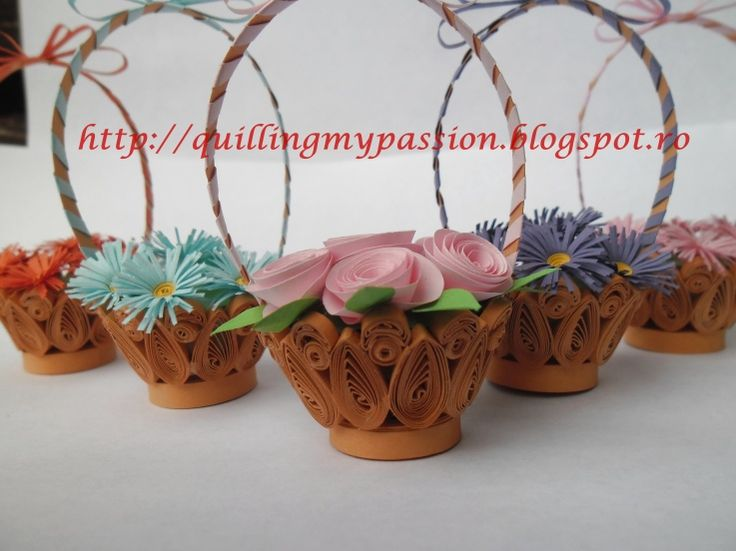 How To Make A Quilling Flower Basket : Best images about quilling vases bowls baskets and