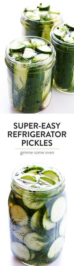 This Easy Refrigerator Pickles recipe only takes about 5 minutes to prep, and makes perfectly crisp and delicious pickles that you'll LOVE!   http://gimmesomeoven.com (Vegan / Gluten-Free)