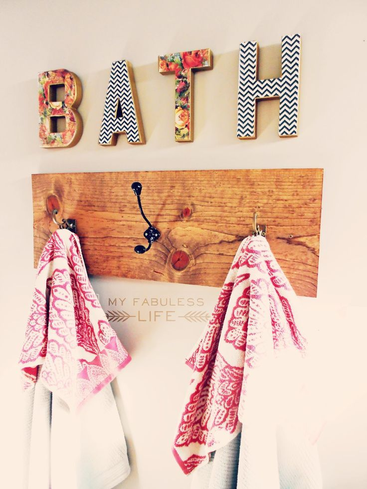 Would use different colors but letters are v cute | Cute way to decorate bath wall and include a towel rack