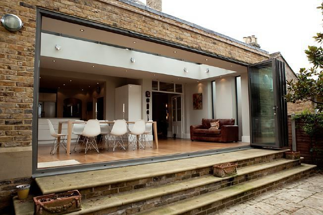 Steps down from bifold doors
