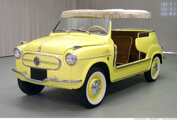 Fiat JollyFeelings Jolly, Golf Carts, Chic Cars, 1960 Fiat, Beach Cars, Yellow Cars, Fiat 500, Beach Cruiser, Fiat Jolly