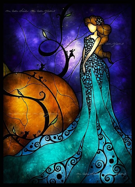 Cinderella -- photocopy onto a overhead projector screen sheet then glue glass gems around the border and hang in the window as  stained glass art.