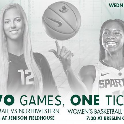 One ticket gets you into both! Start at our game vs Northwestern, and your ticket stub gets you in to see @msu_wbasketball vs Georgia for free! A great Spartan doubleheader for Wednesday! #GoGreen