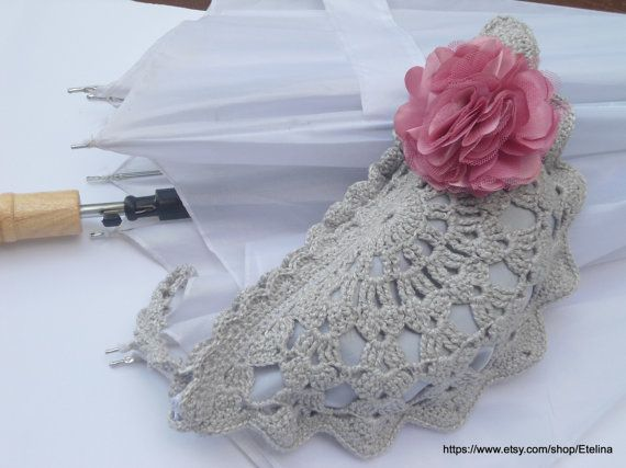 Silver Gray Crochet Clutch Bag Wedding Bridal Purse by Etelina, $29.00