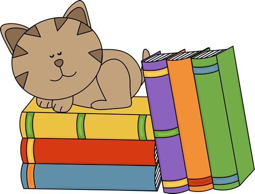 Cat Sleeping on a Stack of Books Clip Art Image