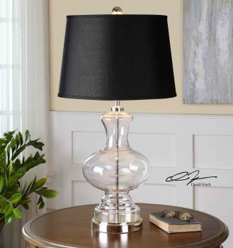 Clear glass base with polished nickel plated accents. The tapered round hardback shade is a crisp black linen fabric. #DavidFrisch #LightsandLamps #HomeDecor #accentfurniture #ArtFurniture