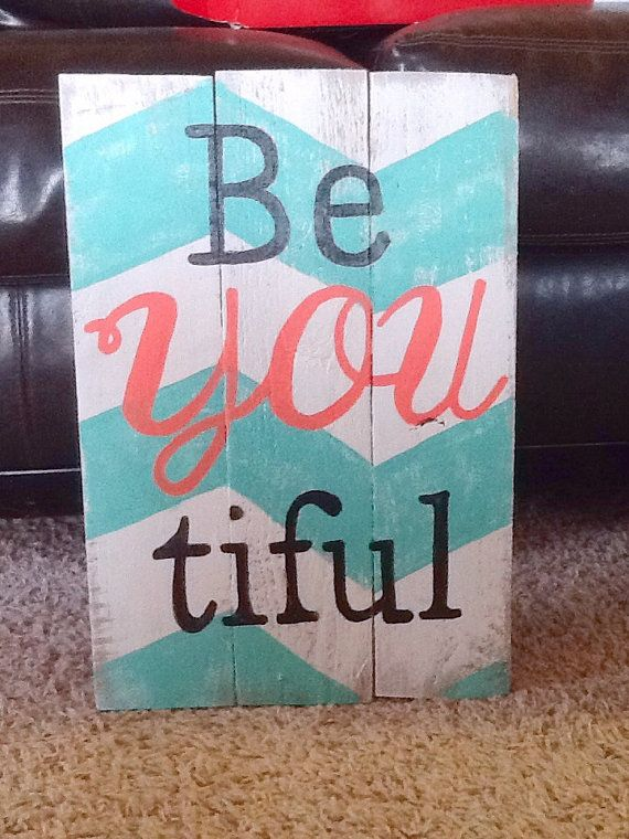 BeYouTiful  Hand painted 17x16 turquoise chevron by ReChicDesign