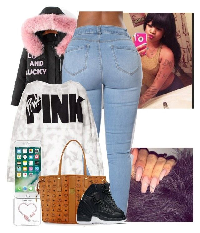 """""""Bouta go get my hair done // Cece"""" by melaninmonroee ❤ liked on Polyvore featuring Happy Plugs, Victoria's Secret and MCM"""