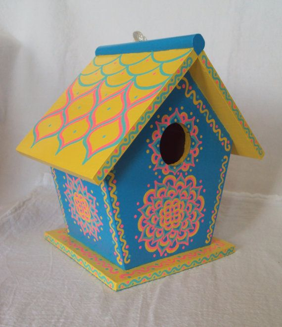 Bright Tropical Blue and Yellow Birdhouse by SingingTrees on Etsy, $35.00