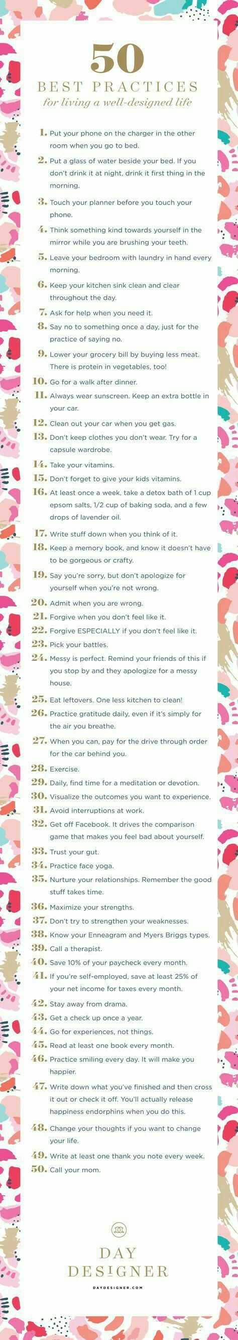 50 best practices for living a well designed life.