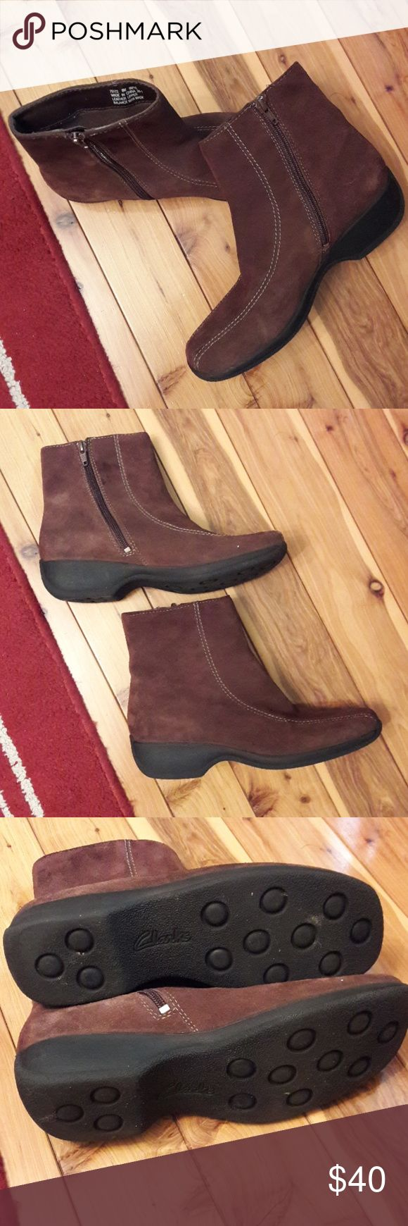 CLARK'S Brown Suede Ankle Boots, Size 8 In amazing shape with inly minor wear on bittom. Women's size 8 (True to size, 8/8.5) . Brown Suede book, flat. Please message me with any questions. Thank you. A Portion of sales are going toward disaster relief. Thank you. Clarks Shoes Ankle Boots & Booties