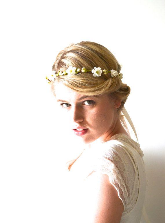 Ivory Wedding Headpiece, Floral Hair Wreath, Flower Girl Head Wreath, Vine Crown, Hair Crown, Bridal Crown, Flower Crown - SHEPHERDESS